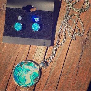 Vintage Unicorn 🦄 Necklace & Earrings Jewelry Set